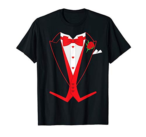 Valentine's Day Tuxedo Red Bow Tie T-Shirt Costume for Guys -