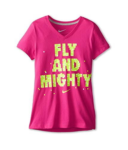 Nike Kids Girls NA Fly & Mighty V-Neck Tee (Little Big Kids), Vivid Pink/Dark Grey Heather XL (18-20 ()