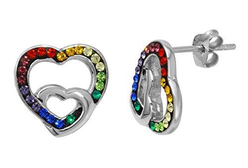 Rainbow Crystal Earrings (Sterling Silver Rainbow Heart Genuine Swarovski Crystals Earrings)