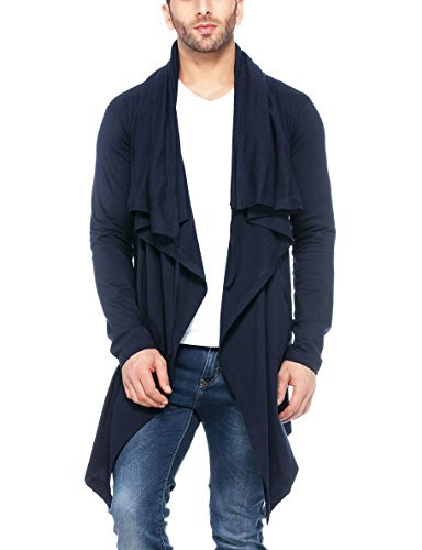 Tinted Men's Cotton Sinker Hooded Cardigan,Navy,Small