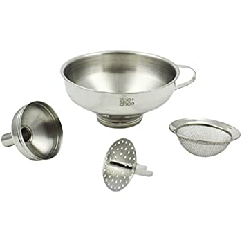 4-Inch Diameter Opening Canning HIC 18/8 Stainless Steel Canning Funnel with Removable Strainer
