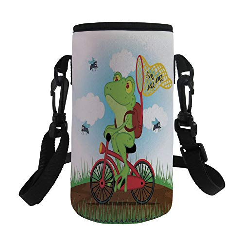 iPrint Small Water Bottle Sleeve Neoprene Bottle Cover,Animal Decor,Funny Frog on a Bike Catching Hunting Flies in the Nature Illustration Wild Life Print,Multi,Great Stainless Steel Plastic/Glass by iPrint