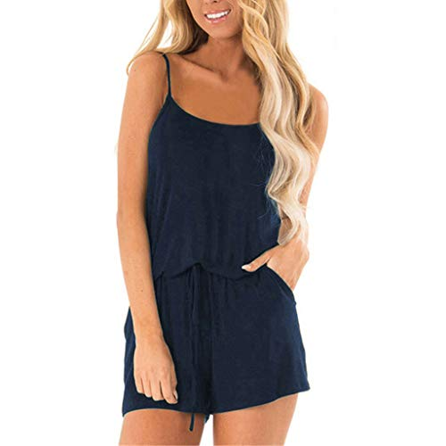 ADREAML Womens Summer Loose V Neck Spaghetti Strap Short Jumpsuit Rompers Navy