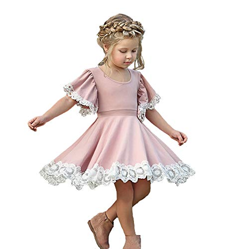 Kids Baby Girls Dress Lace Edge Floral Party Dress Short Flare Sleeve Pink Dress Clothes (3-4 Years, Pink Party Dress)