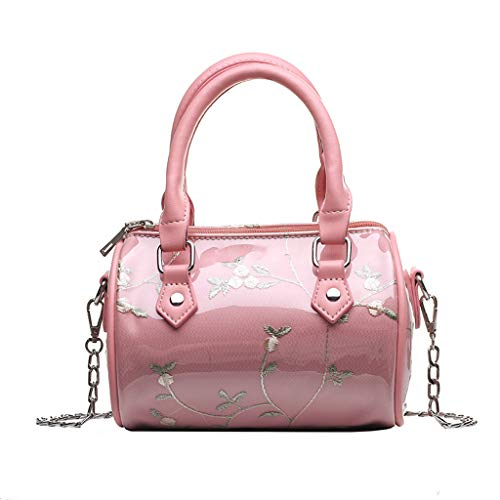 Fashion Women Embroidery Beach Waterproof Handle Bag Leather Chain Crossbody Bag , JKRED Fashion Causal Zipper Outdoor Personality Party Solid Color Portable Wild Travel Multifunction (Pink) ()