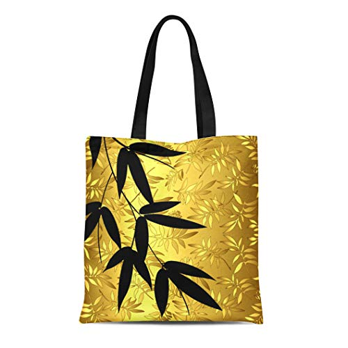 Semtomn Cotton Line Canvas Tote Bag Asian Glam Bamboo Leaves Gold Orient Oriental Japanese Chinese Reusable Handbag Shoulder Grocery Shopping Bags