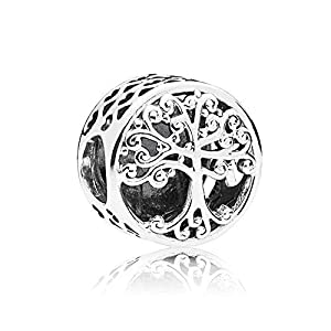 Romántico Amor Family Roots Charm Tree of Life Sterling Silver Hollw Sterling Silver Bead fit Pandora Bracelets