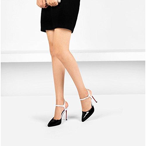 des Boucle Pointue à Hauts Hauts 12cm wysm Sexy Blanc Bien Femelle Sandales Tête Avec vides Chaussures Talons Talons Baotou 8w5xq67xz