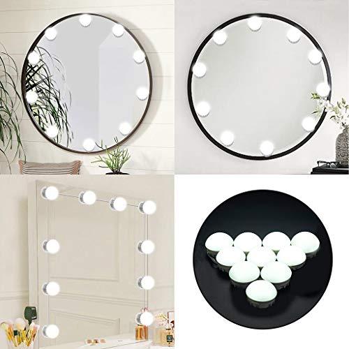 Hide on bush Makeup Mirror Lights DIY 10 LED Dimmable Vanity Mirror Lights Kit, Length193In (White) ()