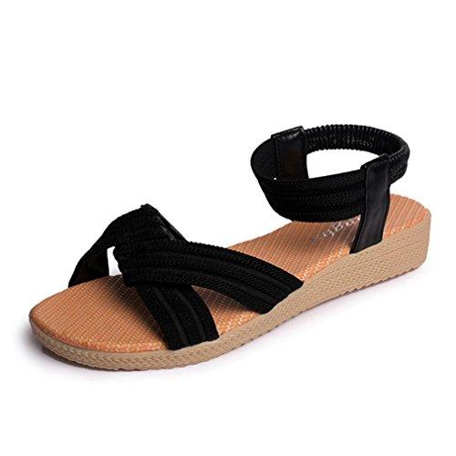 FAMILIZO Zapatos De Mujer Plana Rayas Bohemia SeñOra Sandalias Peep-Toe Zapatos Al Aire Libre Sandalias Negro