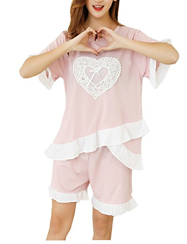 Leisure Home Big Girls Sweet Heart Ruffle Lace Summer Pajama 2 Pieces Sleepwear 10-18 Years by Leisure Home