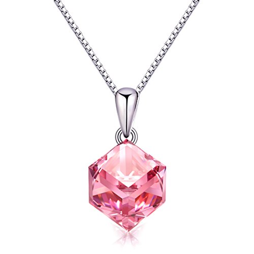 Pink Swarovski Crystal Pendant Necklace, Cat Eye Jewels S925 Sterling Silver Crystal Diamond Pendant Necklace for Women Girls SW003 (Silver Pink Crystal Pendant)