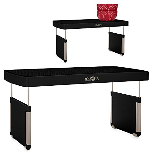 YouCopia StoreMore Height Adjustable Cabinet Shelf Organizer 2-Pack, Black (Kitchen Riser)