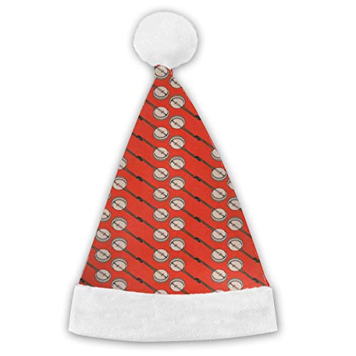 Banjo Musical Instrument Christmas Santa Hat Holiday Novelty Hat Christmas Party Hat Xmas Decoration for Adults&Children -