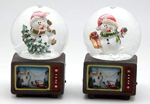 MINIUM-Collection 0324900540 Juego de 2 CD de Bola de Nieve Navidad muñeco de Nieve televisor con árbol de Navidad y Regalo y Bolas de Navidad 65 mm de diámetro – Kleine Burbuja: