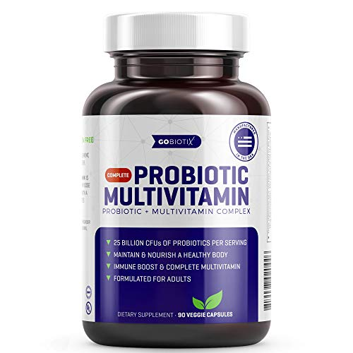 GoBiotix Probiotic Multivitamin | Daily Multivitamin with Probiotics | 25 Billion CFU | Immune Boost & Digestive Health, Flora Probiotic for Women & Men | Gluten Free ● 90 Veggie Capsules