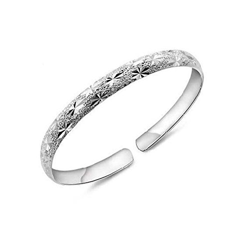 (Retro 925 Sterling Silver Plated Circle Cuff Bangle Bracelet JD5049)