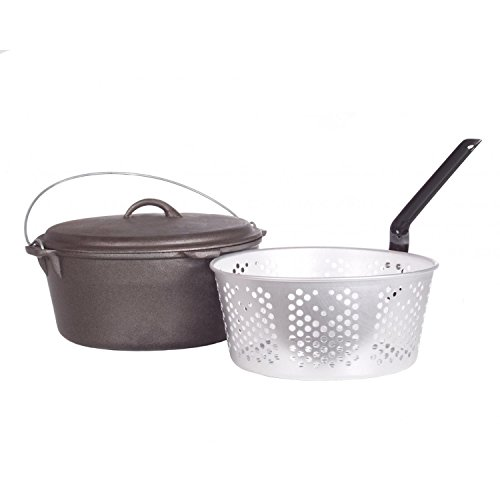 Cajun Cookware Dutch Ovens With Fry Basket 9 Quart Cast Iron Dutch Oven (Aluminum Perforated Dutch Oven)