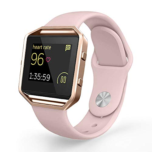 UMTELE Compatible Fitbit Blaze Bands, Sport Silicone Replacement Strap [Pin-Tuck Closure] Frame Fitbit Blaze, Small, Pink Sand
