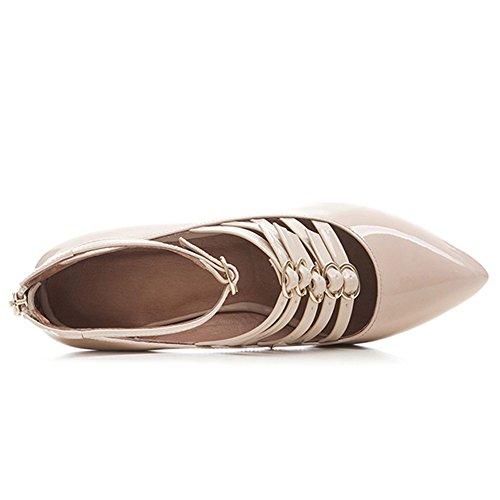 Nueve Siete De Charol Para Mujer De Punta Estrecha Tacón Grueso Strapy Hecho A Mano Del Tobillo Sexy Bombas Zapatos Nuevos Ligh Rosa