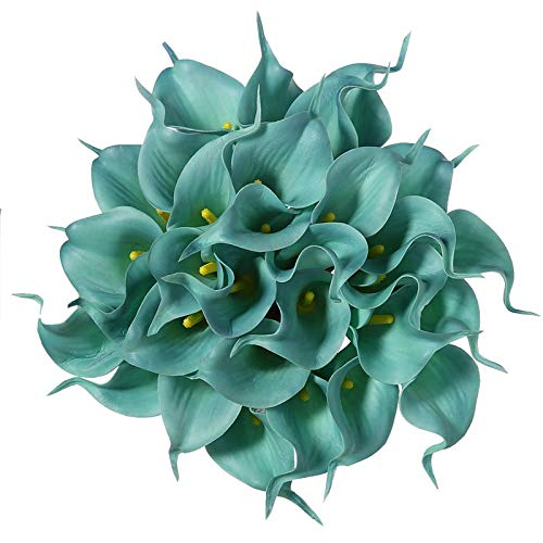 15 Colors 50Pcs/Lot PU Artificial Calla Flowers Home Decor Real Touch Lily Flower Bride Bouquet Wedding Decoration Garden Tiffany Blue