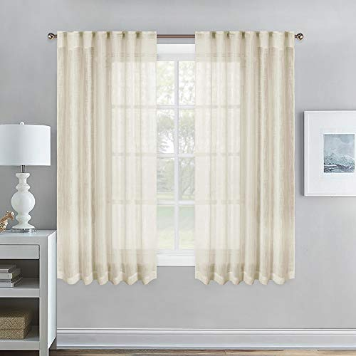 (NICETOWN Linen Look Sheer Curtains - Beige Rod Pocket & Back Tab Window Voile Panels 63