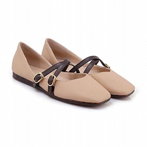 Mee Shoes Damen flach Schnalle vierkant Pumps Pink