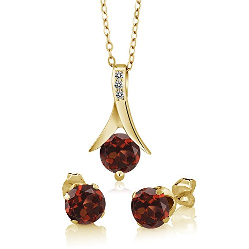 Gem Stone King 3.05 Ct Red Garnet White Diamond 18K Yellow Gold Plated Silver Jewelry Set