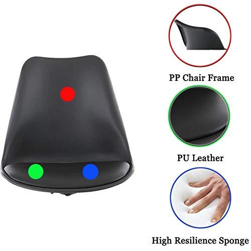 Svart ergonomisk mellanrygg skrivbordsstol läder datorstol liten arbetsstol verkställande svängbar kontorsstol med bekväm svamp tyst rullstol justerbar höjd, enkel möbler