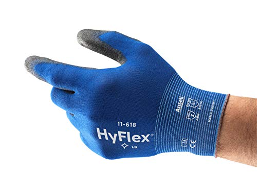 - Ansell HyFlex 11-618 Nylon Light Duty Multi-Purpose Glove with Knitwrist, Abrasion/Cut Resistant, Size 10, Blue (Pack of 12 Pair)