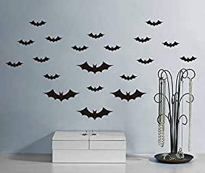Black Newly Fashion Bat Mural Wall Decals Home Decoration PVC Removable Waterproof Wall Stickers