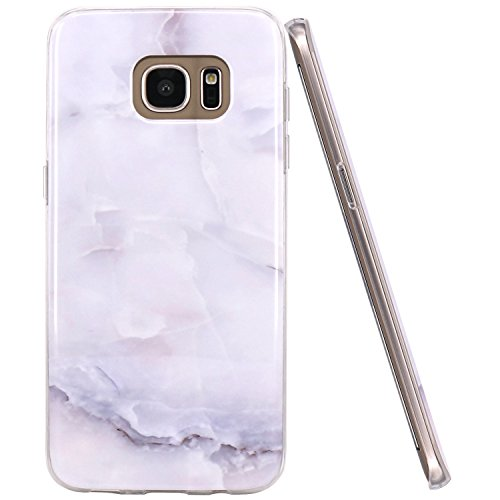 Galaxy S7 Edge Case, JAHOLAN Gray Marble Design Slim Flexible Clear Bumper TPU Soft Case Rubber Silicone Skin Cover for Samsung Galaxy S7 Edge
