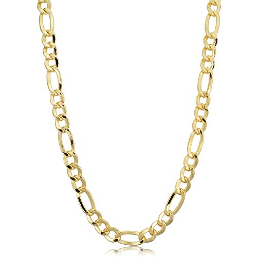 - Kooljewelry 14k Yellow Gold Filled Solid Figaro Link Chain Necklace (6 mm, 20 inch)