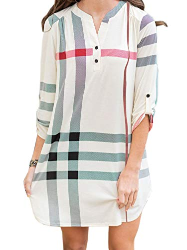 NIUBIA Womens Plaid Shirts Striped Tunic Dresses Roll-Up 3/4 Sleeve V Neck Button Henley T Shirt Midi Dress White