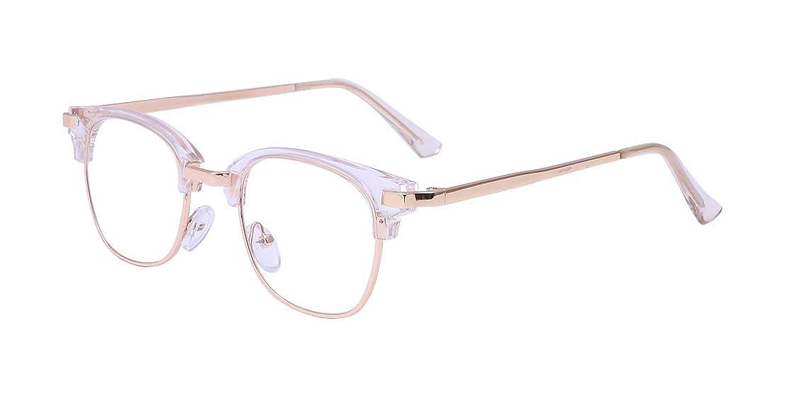 ALWAYSUV Retro Klare PC Linse Metall Bügel Halb Rahmen Unisex Streberbrille Brillenfassung A2315-3