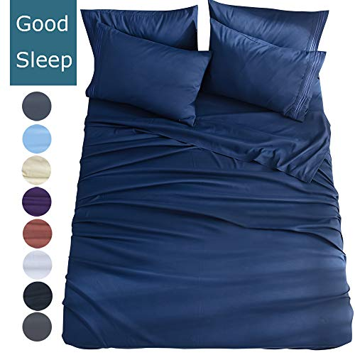 Shilucheng Twin Size 4-Piece Bed Sheets Set Microfiber 1800 Thread Count Percale | 16 Inch Deep Pockets | Super Soft and Comforterble | Wrinkle Fade and Hypoallergenic(Twin,Navy Blue) (Bed Set Twin For A Size Bed)