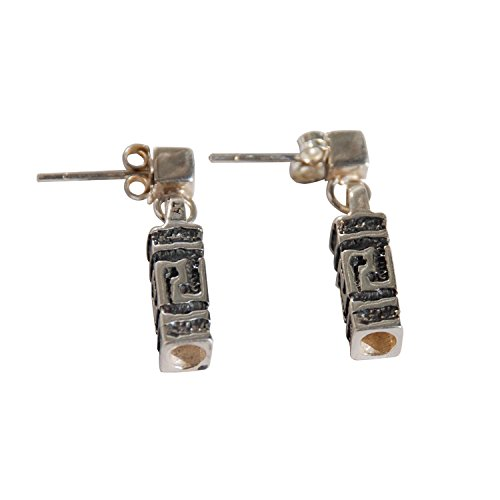 Greek Key Post Earrings (Sterling Silver Oxidized 4-sided Casted Greek Key Post Earrings Hanging from Square)