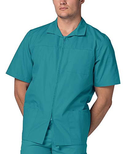 Adar Universal Men's Zippered Short Sleeve Jacket (Available in 7 colors) - 607 - Teal Green - S (Nursing Jacket Uniform)