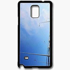 Unique Design Fashion Protective Back Cover For Samsung Galaxy Note 4 Case Bridge Morning Sky Blue Minimalism Clouds Black