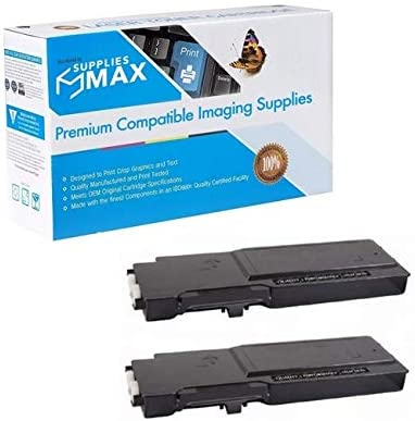 2//PK-6000 Page Yield 593-BBBU/_2PK SuppliesMAX Compatible Replacement for Dell C2660DN//C2665DNF Black Toner Cartridge