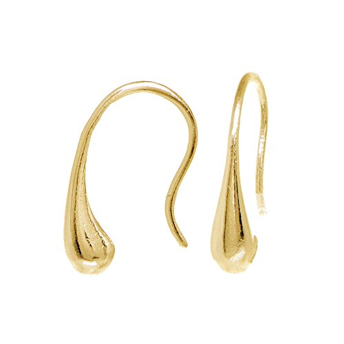 (Yellow Gold Flashed Sterling Silver Elongated Puffed Small Teardrop Hook Earrings)