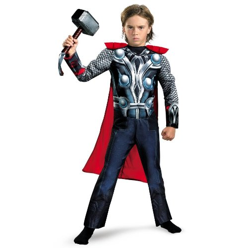 [Disguise Boys Marvel Avengers Assemble Thor Classic Muscle Costume, Large/10-12] (Official Scream Costumes)