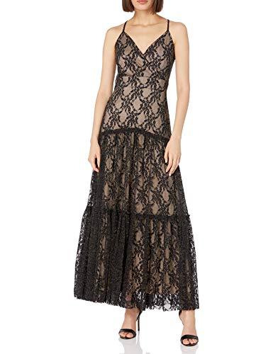 Taylor Dresses Women's Lace Mesh Maxi Slip Dress, Black Nude, 4