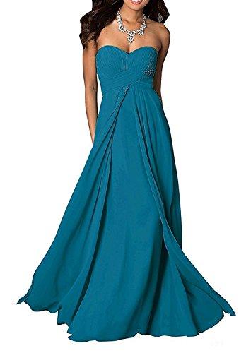 A Brautmutterkleider Linie Chiffon Damen Blau Einfach Abendkleider Charmant Dunkel Partykleider Herzausschnitt Lang X86qXSnwx