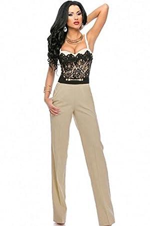 a99d4caa6d1 Ladies Elegant Black   Beige Lace Top Trouser Suit Jumpsuit Bodysuit  Catsuit Club Wear Casual Wear Size M UK 10-12  Amazon.co.uk  Sports    Outdoors