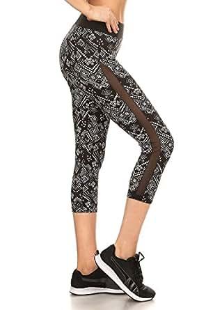 SATINA Sejora Yoga Pants & Capris Activewear Exercise Leggings w/Designs & Mesh (Medium, 02 Tribal)