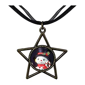 Chicforest Bronze Retro Style Snowman Figurine Five Pointed Star Pendant