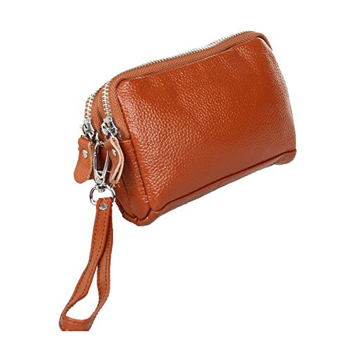 Aiklin Women's Calf-leather Wallet Zippered Purse Wristlet Clutch