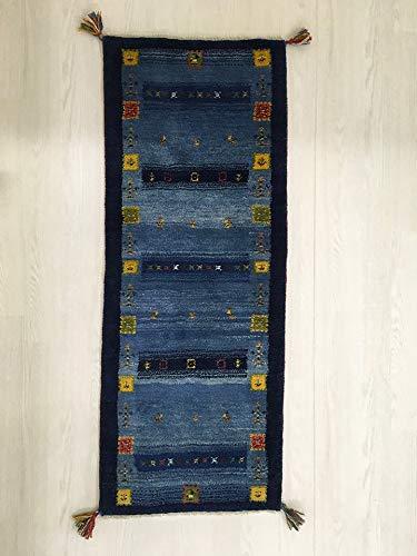 GABBEH ギャッベ ランナー 絨毯(じゅうたん) カーペット ラグ キッチンマット 「ラスバブ」約53×142cm ブルー gb-f070   B07QBXV3KZ