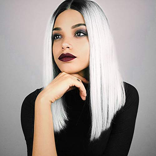 AISI HAIR Straight Bob Wig Middle Part Bob Wig Ombre Wig Short Bob Wigs Straight White Hair with Dark Roots Ombre White Wigs for women Shoulder Length Wigs Straight Hair -